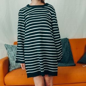 Madewell Stripe Sweater Dress Merino Wool